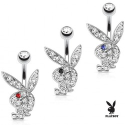 Surgical Steel Clear Gem Playboy Bunny Rabbit with Coloured CZ Eyes Belly / Navel Bar