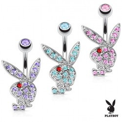 Surgical Steel Coloured CZ Gems Playboy Rabbit / Bunny Belly / Navel Bar