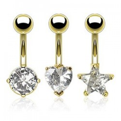 Pack of 3 Gold Plated Belly / Navel Bars with Heart / Star / Circle CZ Gem