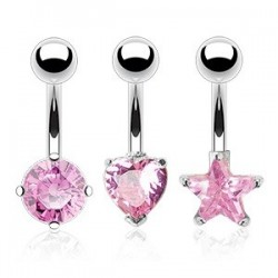 3 Pack Surgical Steel Belly / Navel Bars with Pink Gem Heart / Star / Circle