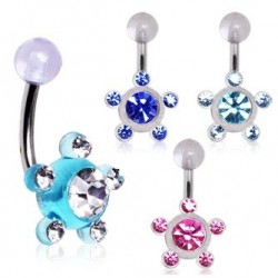 Surgical Steel Acrylic Multi Star Gem Belly / Navel Bar