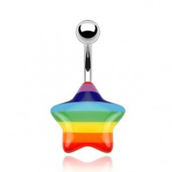 Surgical Steel Rainbow Acrylic Star Belly / Navel Bar