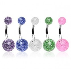 Pack of 5 Surgical Steel Glitter Ball Belly / Navel Bar