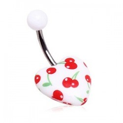 Surgical Steel Red Cherries Design Belly / Navel Bar