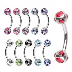 Surgical Steel Curve Eyebrow / Nipple Barbell with Multi Gem Balls