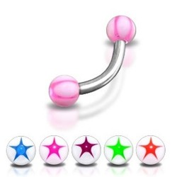 Surgical Steel Eyebrow / Nipple Curve Barbell with Star Balls