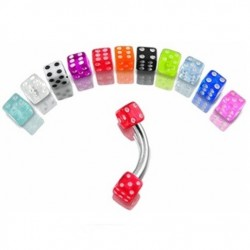 Surgical Steel Eyebrow Barbell with Coloured Dice