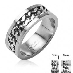 Unisex Stainless Steel Spinning Centre Chain Band Ring