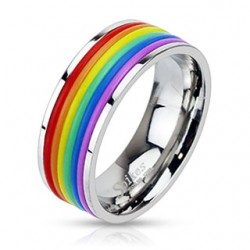 Unisex Stainless Steel Rainbow Rubber Stripes Band Ring