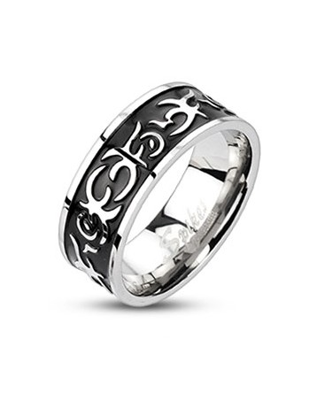 Stainless Steel Centre Black IP Casted Tribal / Celtic Band Ring