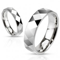 Polished Stainless Steel Diamond Cut Faceted Design Band Ring