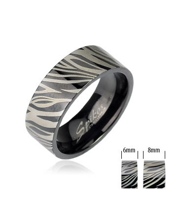 Stainless Steel Black Zebra Etched Print Band Ring