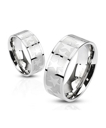Stainless Steel Shiny Star Band Ring