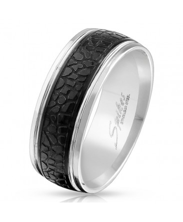 Stainless Steel Black Plated Centre Snake Pattern Band Ring