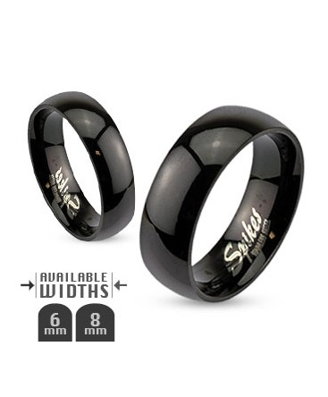 Polished Stainless Steel Black Glossy Mirror Dome Band Ring