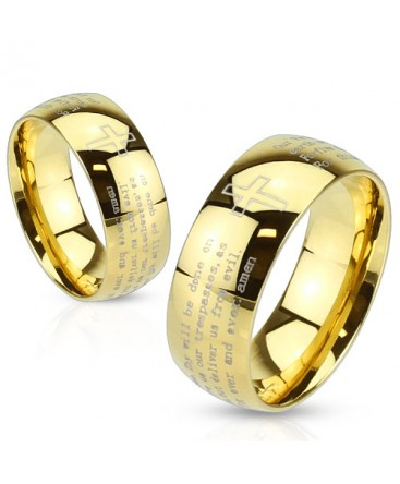 Gold Plated Laser Etched Polished Lords Prayer Band Ring
