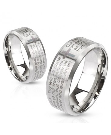 Stainless Steel Laser Etched Lord's Prayer Beveled Band Ring