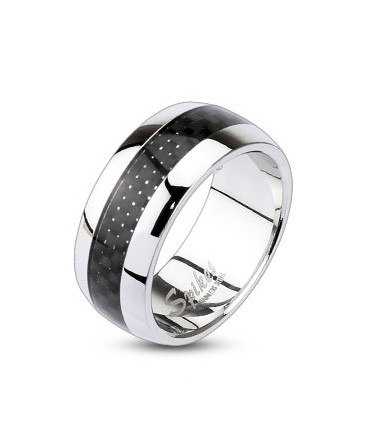 Stainless Steel Black Carbon Fiber Inlay Centre Dome Band Ring