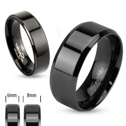 Black IP over Stainless Steel Beveled Edge Flat Band Ring