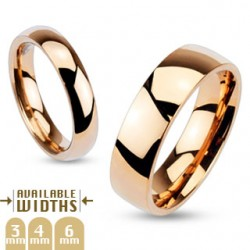 Polished Rose Gold IP over Stainless Steel Glossy Mirror Dome Band Ring