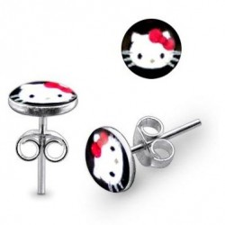 925 Sterling Silver Hello Kitty Stud Earrings with 9mm Logo
