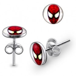 925 Sterling Silver Spiderman Stud Earrings