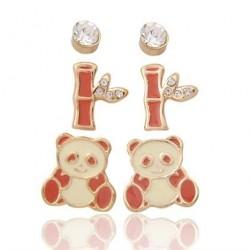 Gold Plated Set of Three Animal Panda Gem Bamboo Stud Earrings