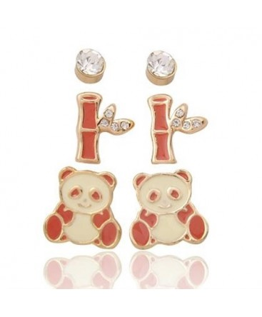 Gold Plated Set of Three Animal Panda Gem Bamboo Stud Earrings