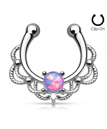 Clip-On / Fake Synthetic Opal Stone Septum Ring