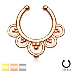 Clip-On / Fake Flower Petal Design Septum Ring