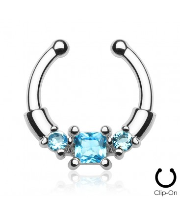 Clip-On / Fake Square CZ Gem Septum Ring