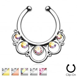 Clip-On / Fake Round Floral Design Septum Ring with CZ Gems