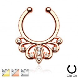 Clip-On / Fake CZ Gem Filigree Swirl Septum Ring