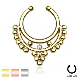 Clip-On / Fake Beaded Collar Hanger Septum Ring