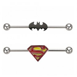 Surgical Steel Batman / Superman Logo Design Industrial / Scaffold Barbell