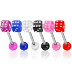 6 Pack Acrylic Coloured Dice Tongue Bars