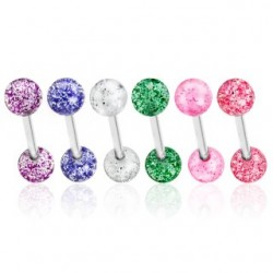 6 Pack Surgical Steel Tongue Bars / Barbells with Acrylic Glitter Balls