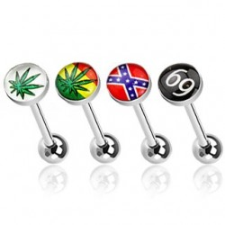 4 Pack Surgical Steel Cannabis Leaf / Rebel Flag / 69 Logo Tongue Bars with Epoxy Dome Ball