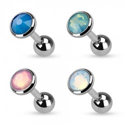 Surgical Steel Opal / Opalite Flat Gem Tragus / Cartilage / Helix / Conch / Stud