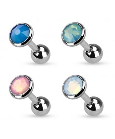 Surgical Steel Opal / Opalite Flat Gem Tragus / Cartilage / Helix / Conch / Stud