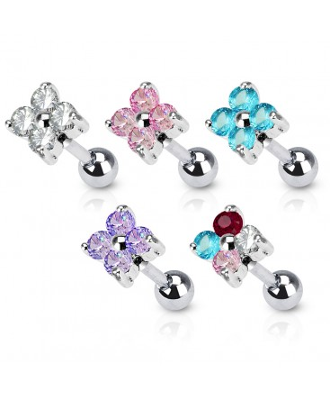 Surgical Steel Flower Four CZ Gem Tragus / Cartilage / Helix / Conch / Stud