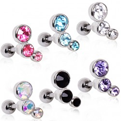 Surgical Steel Triple Gem Tragus / Cartilage / Helix / Conch / Stud