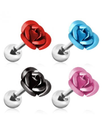 Surgical Steel Metallic Rose Flower Tragus / Cartilage / Helix / Conch / Stud