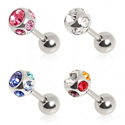 Surgical Steel Multi CZ Gem Tragus / Cartilage / Helix / Conch / Stud