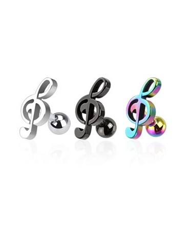 Surgical Steel / Andoised Titanium Treble Clef / Musical Note Tragus / Cartilage / Helix / Conch / Stud