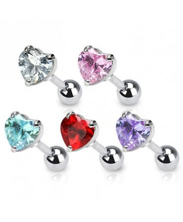 Surgical Steel Coloured Heart CZ Gem Tragus / Cartilage / Helix / Conch / Stud