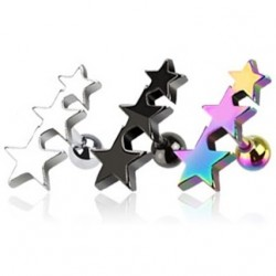 Surgical Steel Anodised Titanium Triple Star Tragus / Cartilage / Helix / Conch / Stud