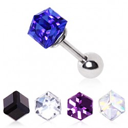 Surgical Steel Cube Gem Tragus / Cartilage / Helix / Conch / Stud