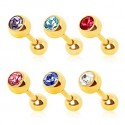 Gold Plated Coloured CZ Gem Tragus / Cartilage / Helix / Conch / Stud