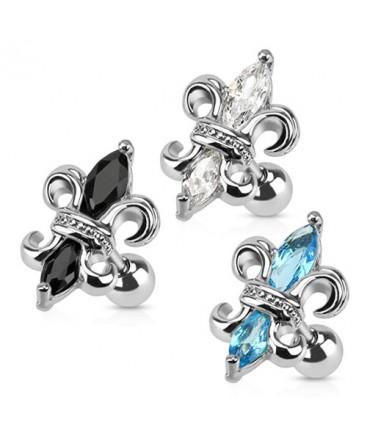 Surgical Steel Fleur De Lis Tragus / Cartilage / Helix / Conch / Stud with Gems